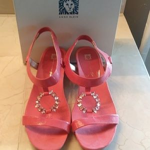 Anne Klein pink suede dress sandal